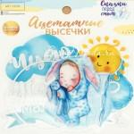 Набор ацетатных высечек с фольгированием Наш малыш,  размер упаковки 11х12см., цена за 1 шт., VT000948