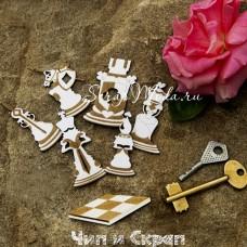 Чипборд Шахматы-Алиса в стране чудес, гравировка, размер 5,7х6,5см, Чип и Скрап. VT001163