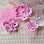 Цветочки вязаные, розовые, размер от 26 до 46 мм.