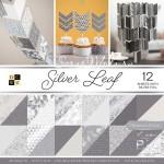 Набор бумаги Silver Leaf от DCWV,  1/2 набора, в наборе 18 двусторонних листов с фольгированием серебряного цвета. YA000002