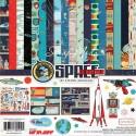 Набор двусторонней бумаги Space Academy, 30,5х30,5 см., 12 листов + 1 лист c наклейками. Carta Bella, YA000074