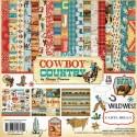 Набор двусторонней бумаги Cowboy country, 30,5х30,5 см., 12 листов + 1 лист c наклейками. Carta Bella, YA000075