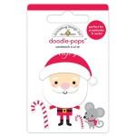 Стикер 3D mini Santa с эпоксидными элементами, высота 6 см., Doodlebug, YA000142