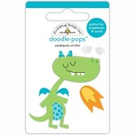 Стикер 3D mini Динозавр и огонь, высота 6 см., Doodlebug, YA000144