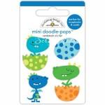 Стикер 3D mini Динозаврики, высота 3 см., 4 шт., Doodlebug, YA000145