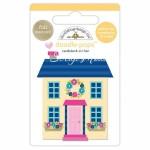 Стикер 3D mini Дом с эпоксидными элементами, высота 6 см., Doodlebug, YA000146