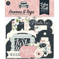 Высечки Just Married-Frame&Tags, 33 шт., размер: от 4 до 10 см., Echo Park, YA000194