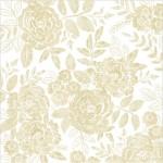Лист веллума Willow Lane, 30х30 мм, золотые цветы на кальке с фольгированием, Crate Paper, YA000216