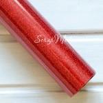 Термотрансферная пленка с глиттером, Красная, размер 25х50см., YA000223