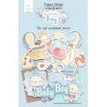 """Набор бумажных высечек """"SWEET BABY BOY"""", 42 штук, размер элементов от 2 до 12 см., Fabrika Decoru. YA000254"""