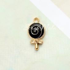Подвеска Леденец основа золотая, чёрная эмаль, 20х12мм, цена за 1 шт., YA000394