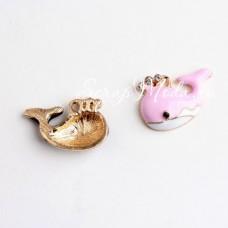 Подвеска Кит, основа золотая и стразы, розовая эмаль, 25х18мм, цена за 1 шт., YA000399