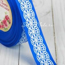 Лента репсовая Синяя с белым орнаментом, ширина 25мм, цена за 1 метр, YA000400