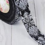 Лента репсовая Чёрная с белым орнаментом, ширина 25мм, цена за 1 метр, YA000401